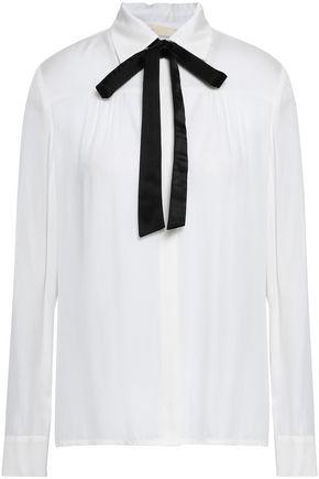 MAJE Pussy-bow twill shirt