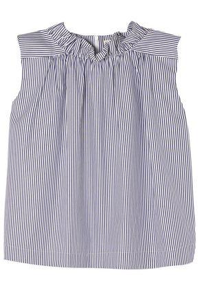 ATLANTIQUE ASCOLI Ruffle-trimmed striped cotton top