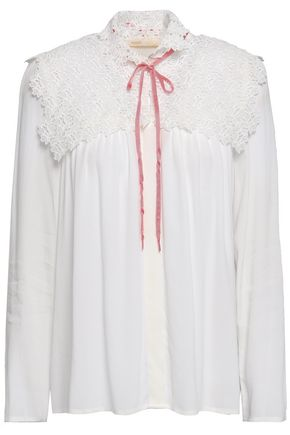 MAJE Macramé-paneled crepe de chine top