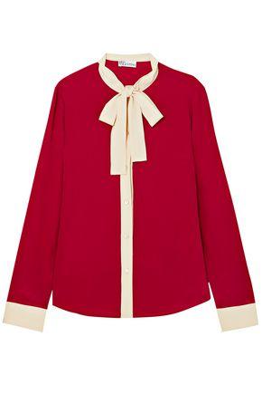 REDValentino Pussy-bow silk crepe de chine shirt
