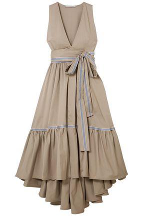 SILVIA TCHERASSI Stretch-cotton twill midi wrap dress