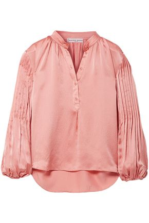 APIECE APART Bravo pleated hammered silk-satin blouse