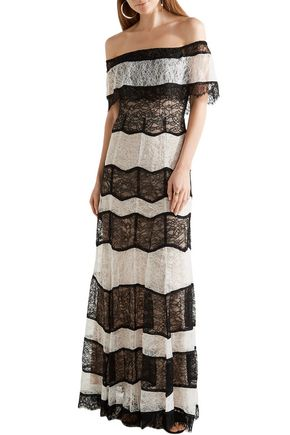 ALICE + OLIVIA Off-the-shoulder two-tone lace maxi dress