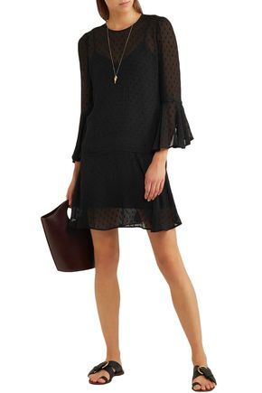 Veronica Beard Emerson Fil Coupé Silk-blend Mini Dress In Black