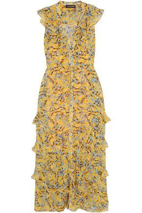 SALONI Ruffled print silk-georgette maxi dress
