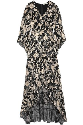 ALICE + OLIVIA Wrap-effect fil coupé chiffon maxi dress