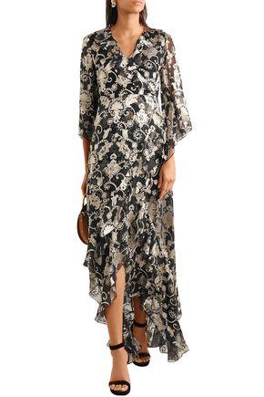 ce106bd9265e ALICE + OLIVIA Wrap-effect fil coupé chiffon maxi dress