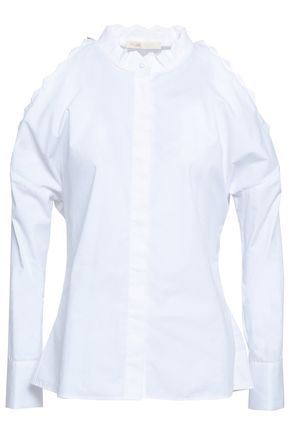 MAJE Calinka cold-shoulder cotton-poplin shirt