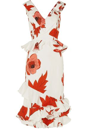 JOHANNA ORTIZ Floral-print cotton-blend peplum midi dress