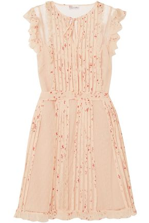 REDValentino Pleated printed crepe de chine and point d'esprit mini dress