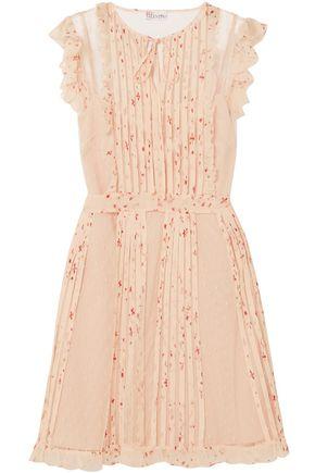 REDValentino Printed georgette-trimmed point d'esprit mini dress