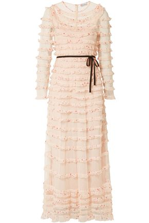 REDValentino Tiered printed crepe de chine and point d'esprit maxi dress