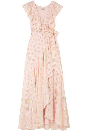 TEMPERLEY LONDON Ruffled crepe fil coupé maxi dress