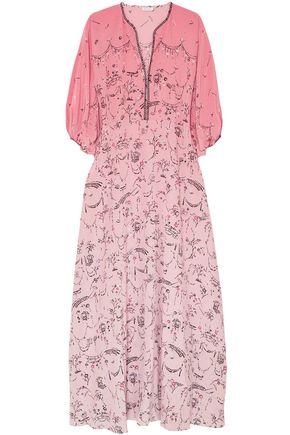 VILSHENKO Printed dégradé silk crepe de chine maxi dress