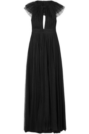 PHILOSOPHY di LORENZO SERAFINI Cape-effect cutout point d'esprit halterneck gown