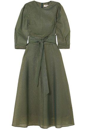 CEFINN Metallic striped cotton-blend seersucker midi dress