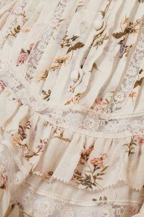 ZIMMERMANN Lace-trimmed ruffled printed crepe de chine mini dress