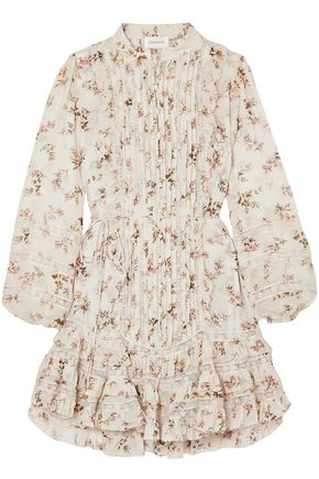 ZIMMERMANN Lace-trimmed ruffled printed crepe de chine mini dress