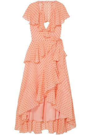 TEMPERLEY LONDON Ruffled polka-dot silk-voile midi dress