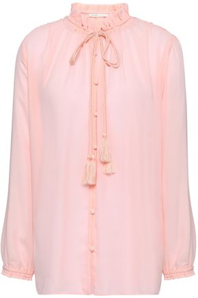 MAJE Ruffle-trimmed pussy-bow crepe de chine shirt