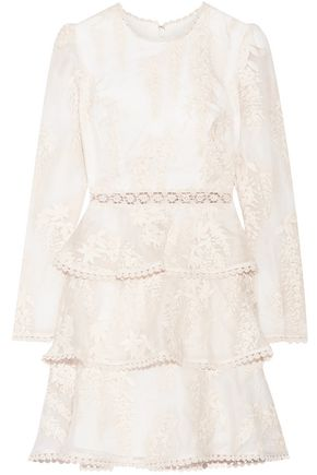 ZIMMERMANN Embroidered silk-organza mini dress