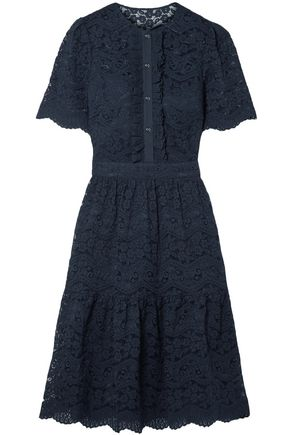 TEMPERLEY LONDON Crochet-trimmed cotton-blend corded lace dress