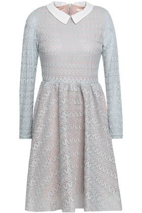 MAJE Rayon layered lace and mesh mini dress