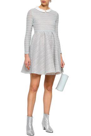 MAJE Rayon layered lace and mesh mini dress