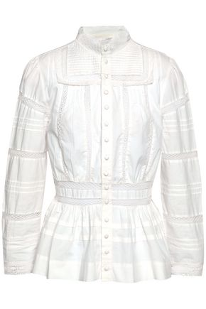 MAJE Cotton-poplin peplum shirt