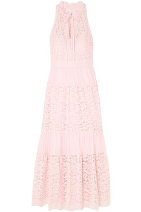 TEMPERLEY LONDON Lunar guipure lace and pleated cotton-blend maxi dress