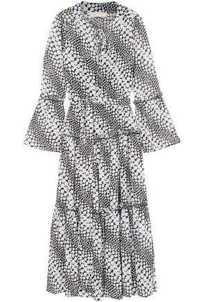 MICHAEL MICHAEL KORS Tiered printed crepe de chine midi dress