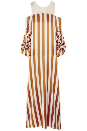 SILVIA TCHERASSI Off-the-shoulder striped silk-blend maxi dress