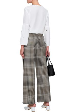 MAJE Fluted embellished crepe blouse