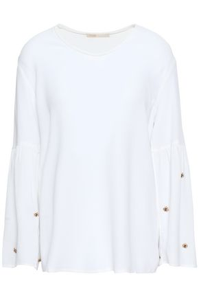 MAJE Fluted embellished crepe blouse