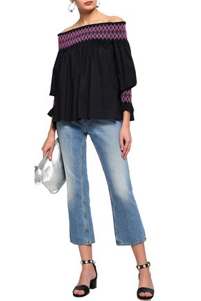 MAJE Off-the-shoulder shirred embroidered cotton-poplin top