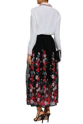 MAJE Canga embellished crepe de chine shirt