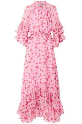 DODO BAR OR Ruffled crystal-embellished floral-print chiffon midi dress