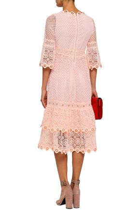MAJE Tiered embellished guipure lace dress