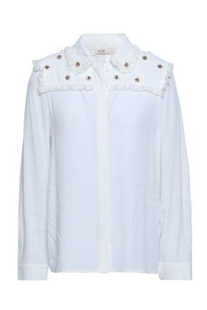 MAJE Embellished crepe shirt