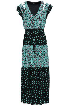 MAJE Cutout printed crepe midi dress