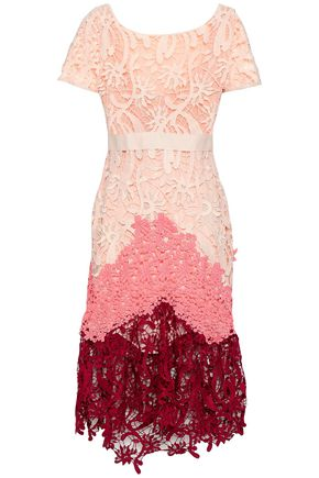 MAJE Color-block lace midi dress