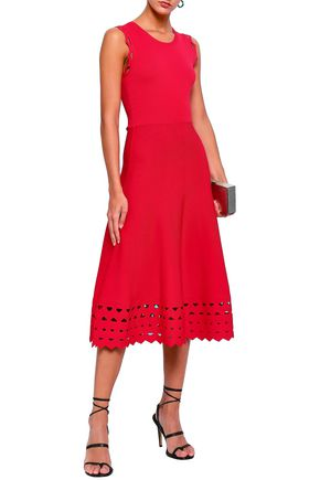 MAJE Rumba laser-cut ponte midi dress