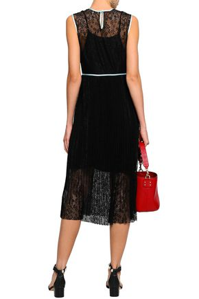 MAJE Satin-trimmed lace midi dress
