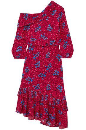 SALONI One-shoulder silk-crepe dress
