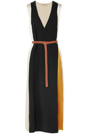 TORY BURCH Color-block silk-satin midi wrap dress