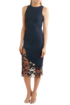 HANEY Embellished tulle-paneled stretch-crepe midi dress