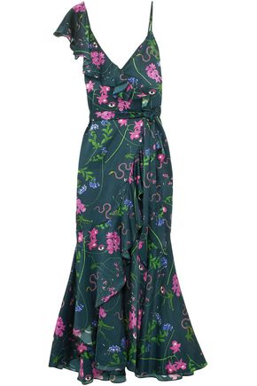 BORGO DE NOR Isadora floral-print cotton and silk-blend satin maxi dress