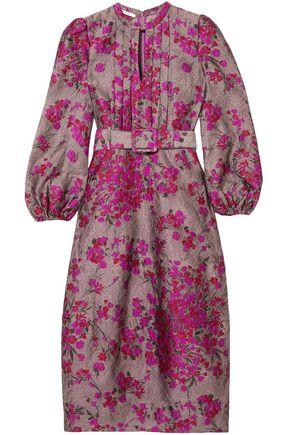 CO Belted floral-jacquard midi dress
