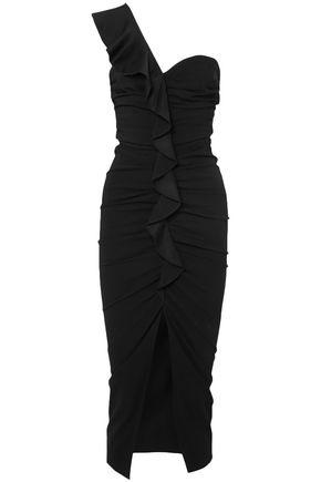 VERONICA BEARD Biba one-shoulder ruffle-trimmed cady midi dress