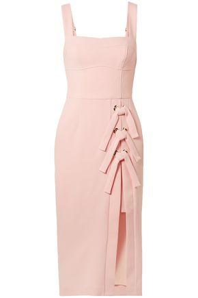REBECCA VALLANCE Celestina lace-up stretch-crepe midi dress